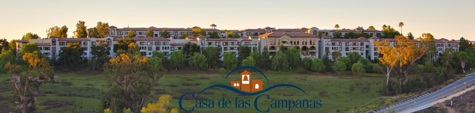 Exterior photo of the Casa de las Campanas multi level senior living facility in Rancho Bernardo