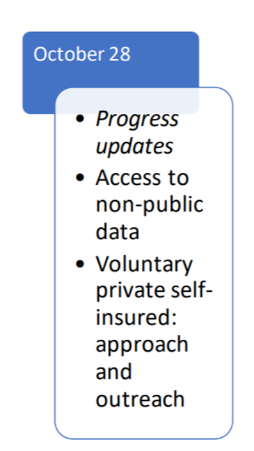 Graphic in blue says October 28. Below graphic in white with bullet points reads Progress Updates, Access to non-public data, voluntary private self-insured: approach and outreach.